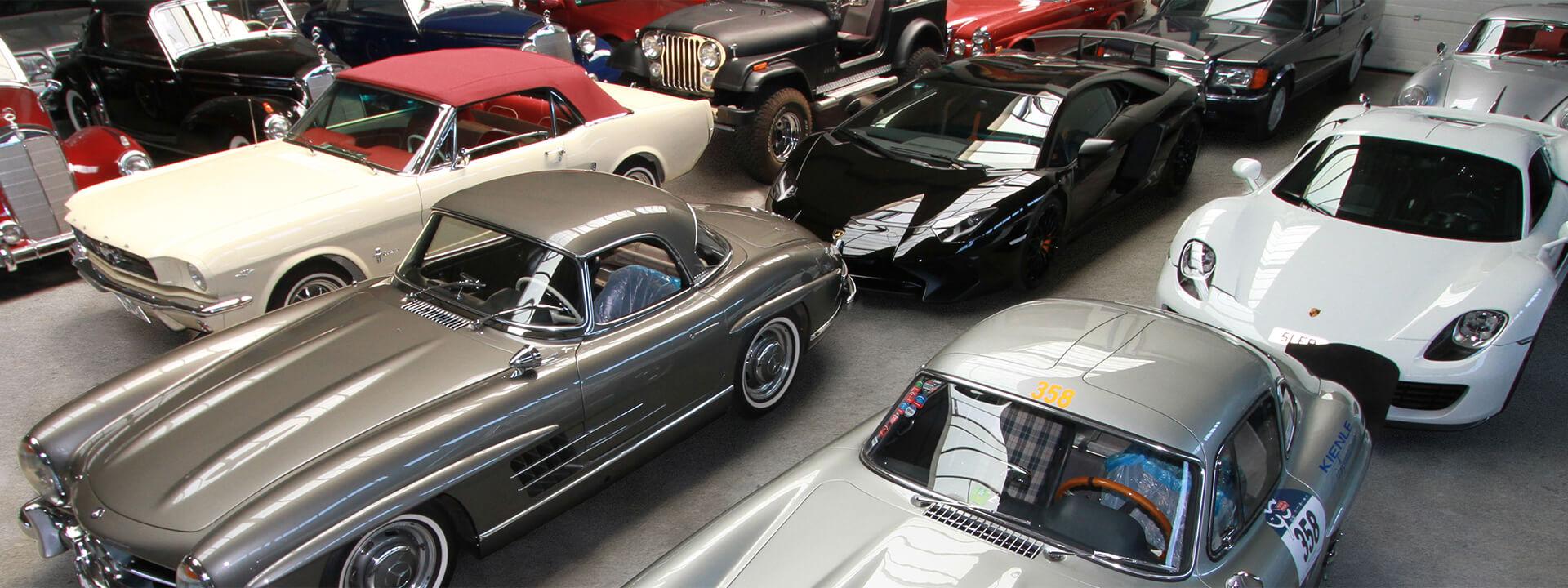 mercedes 300 sl und andere supersportwagen und klassiker im kienle verkaufsraum