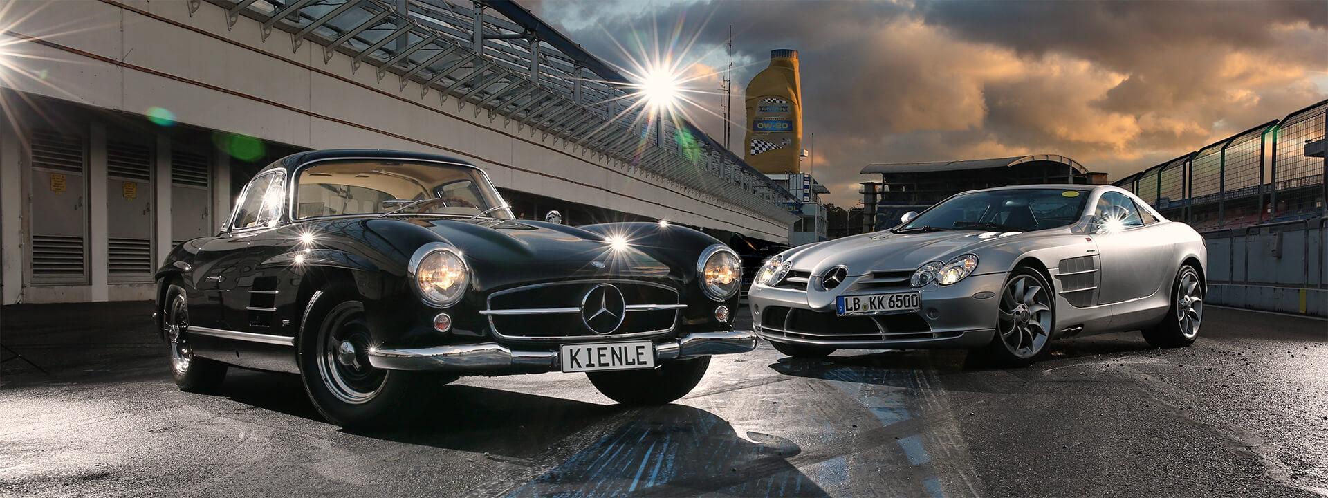 Mercedes 300 SL und Mercedes SLR
