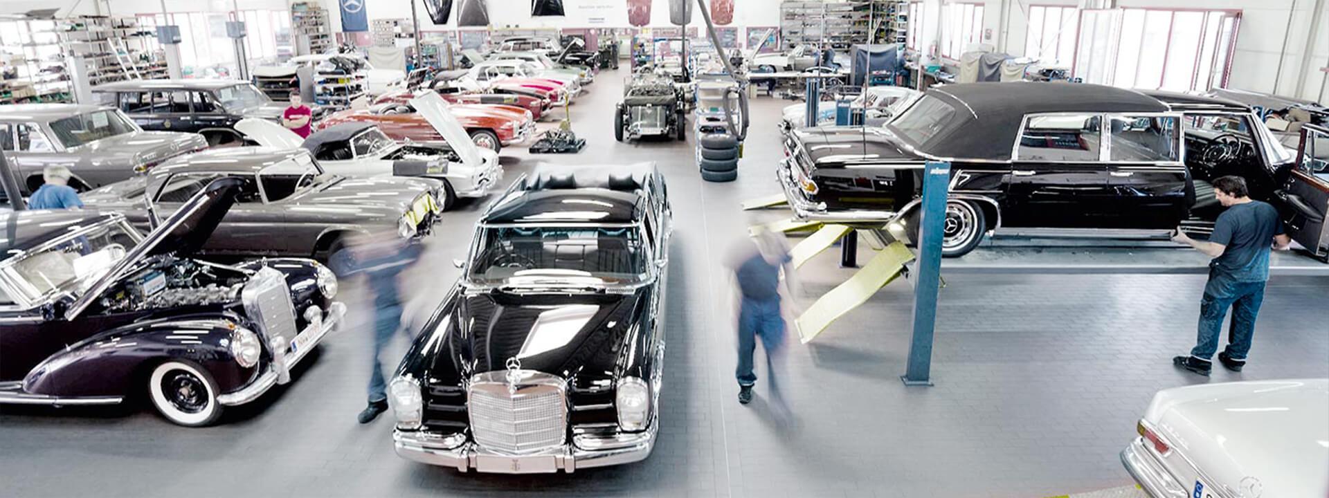Vintage Mercedes car workshop