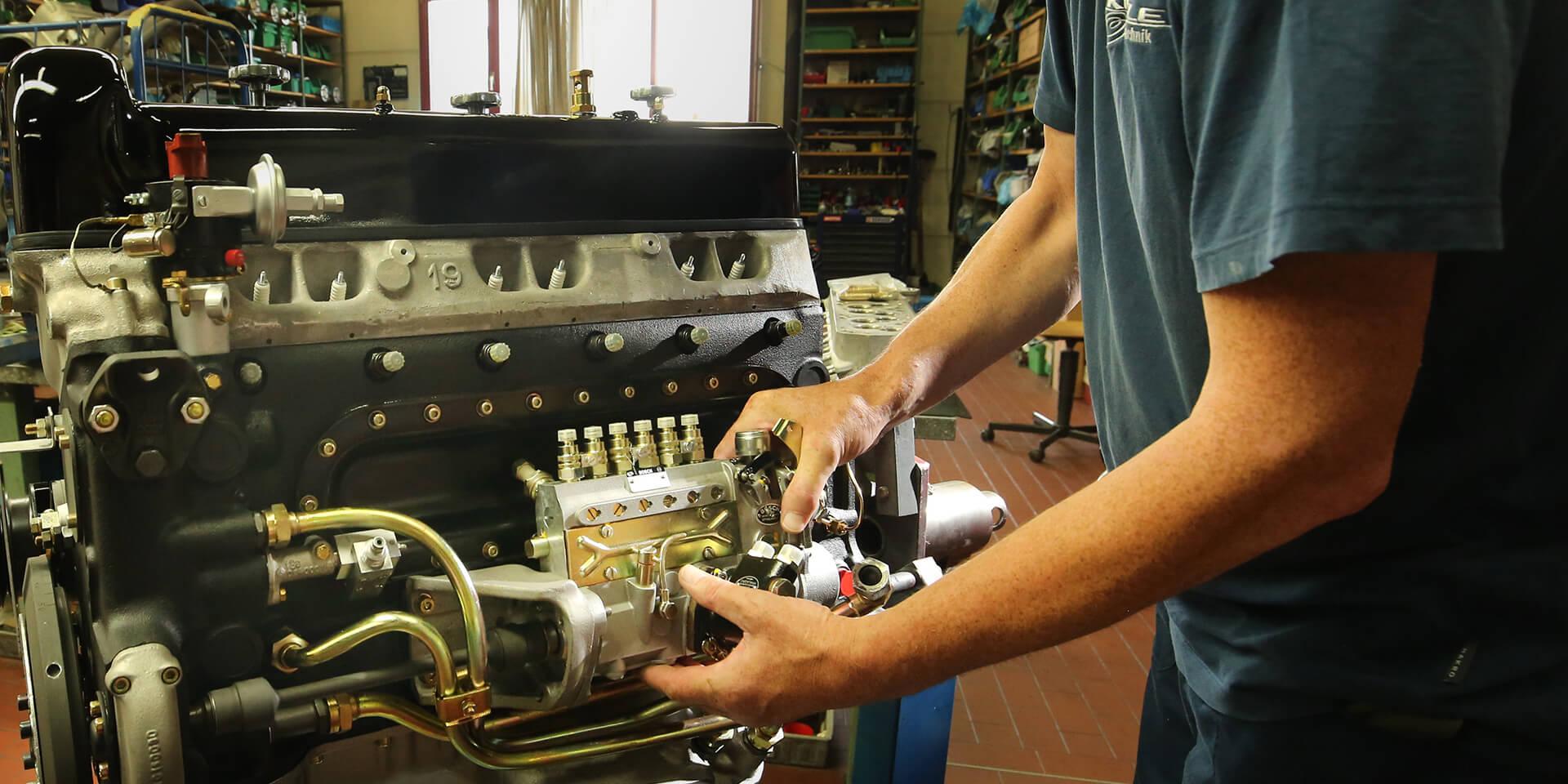 Vintage Mercedes-Benz car engine reconditioning