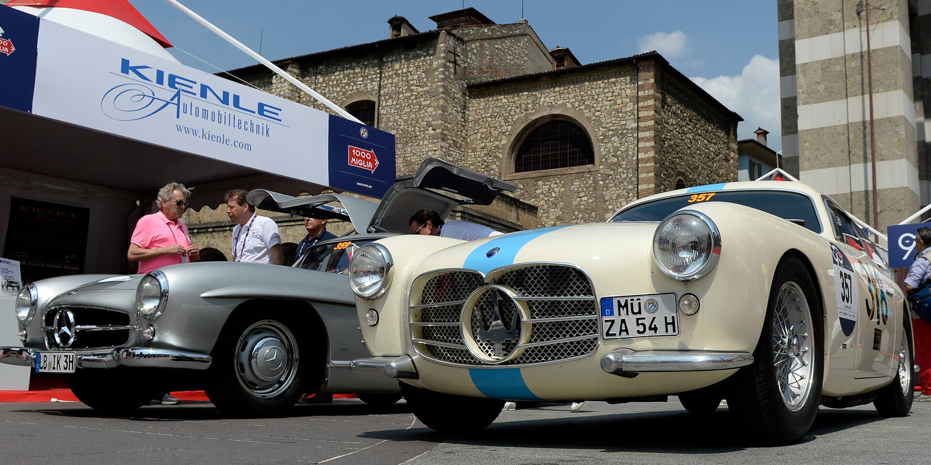 Maserati and Mercedes 300 SL at the Mille Miglia
